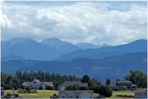 Olympic Mountains above the Dungeness Valley in Sequim, WA